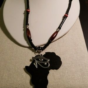 Other - Beaded Map of Africa with Eye of Ra necklace